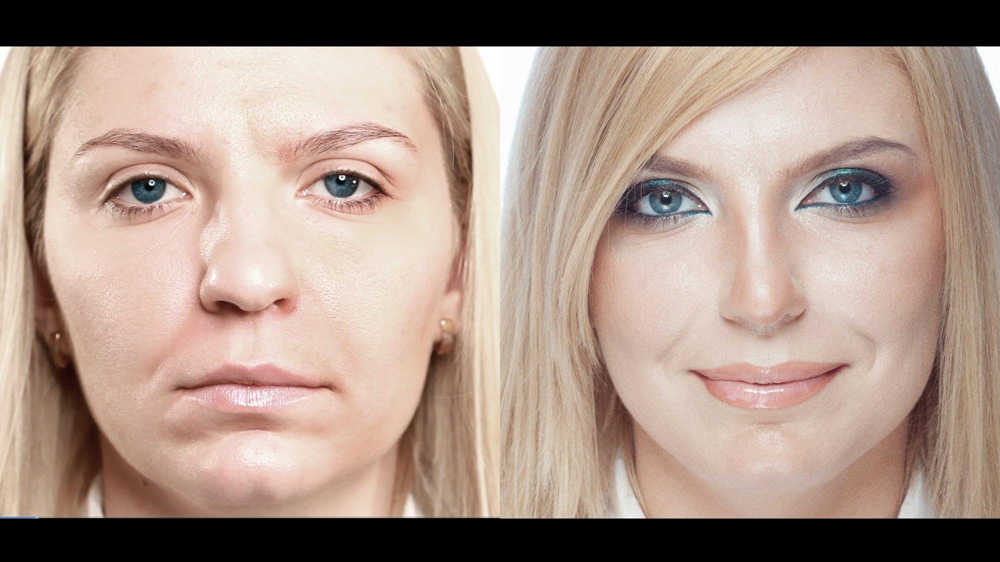 Коррекция носа с помощью макияжа с